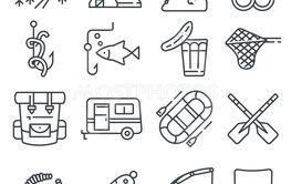 Fishing gray line vector illustration icon set.