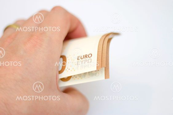 Fifty euro banknotes spread out isolated on white