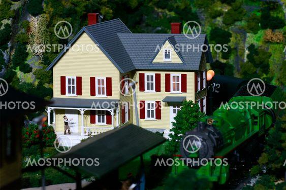 Toy train house setup