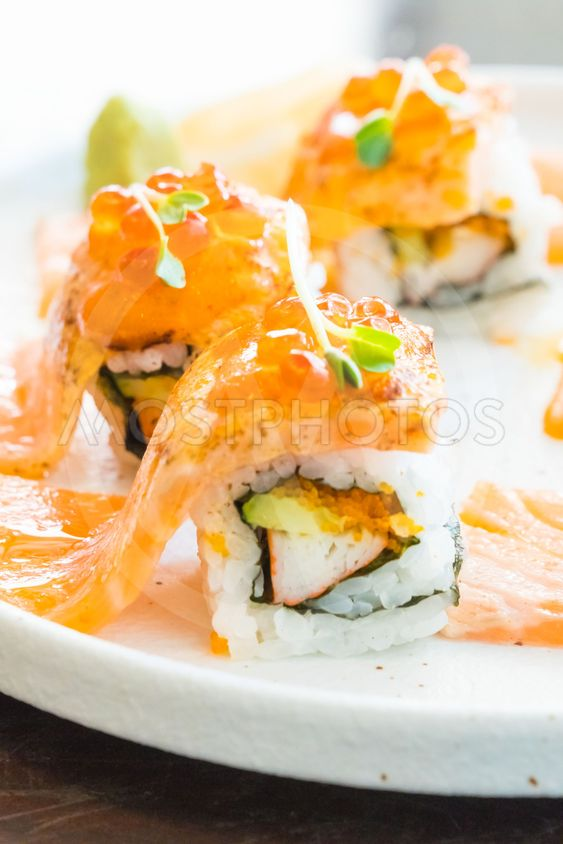Grilled Salmon Sushi Roll By Everything Mostphotos