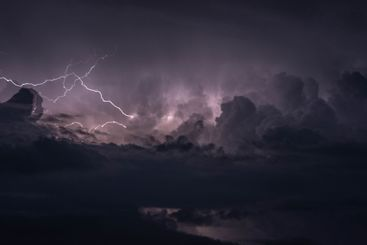 scene of an aggressive night lightning storm