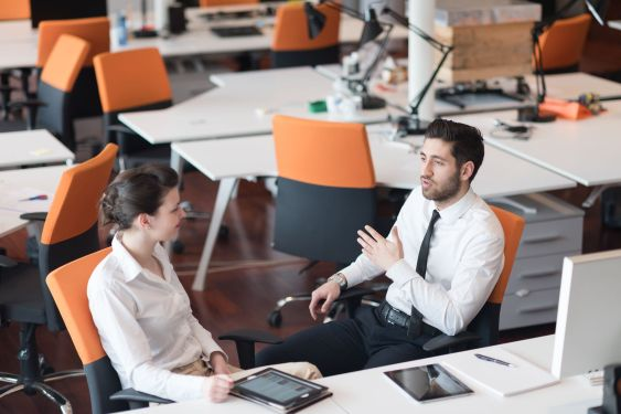 business couple working together on project