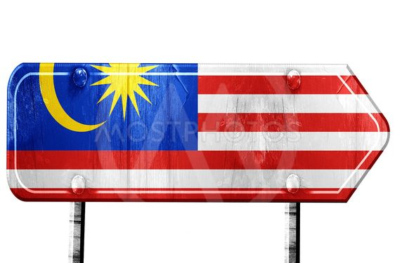 Malaysia flag, 3D rendering, road sign on white background