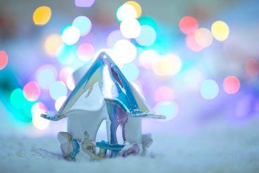 Christmas lantern as home decoration and bokeh light