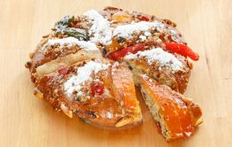 Christmas Bolo Rei or King Cake Over a Wood Table