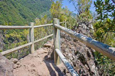 Narrow trail through the mountains of La Palma