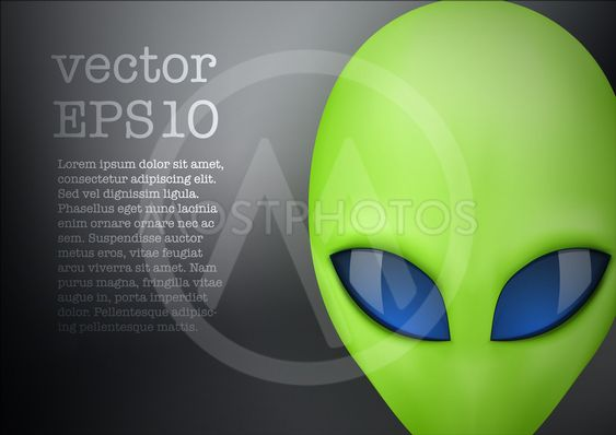 Alien head creature from another world. Vector.