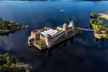 High angle view of the beautiful stone castle...