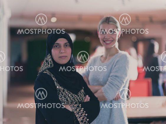 Portrait of Beautiful blonde modern Muslim businesswoman...