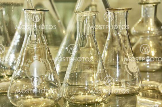 gamle glas reagensglas til medicinsk