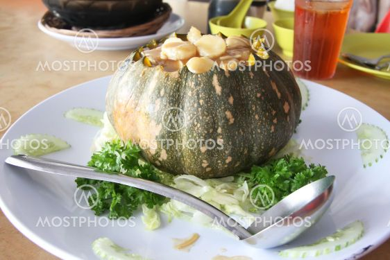 Chinese soup in pumpkin