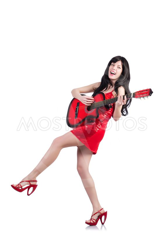 Young singer guitar on white