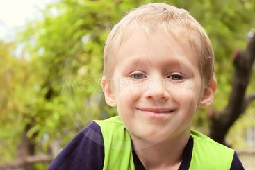 Boy Child Portrait Blond Hair Smiling Cute five years old...