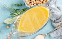 Chickpea sauce, hummus, top view