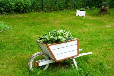 A wooden wheelbarrow