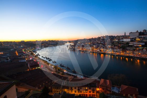 Douro river at dusk, Porto, Portugal.