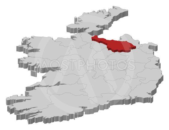 Map Of Ireland Cavan.Map Ireland Cavan 3d I By Steffen Hammer Mostphotos