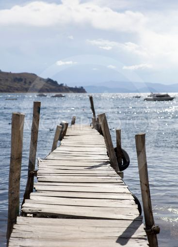 View at old wooden pier