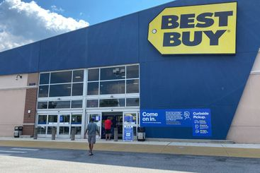 The exteror storefront of a Best Buy electronics retail...