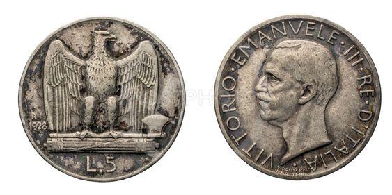 five 5 Lire silver Coin 1928 Eagle arms Vittorio Emanuele...