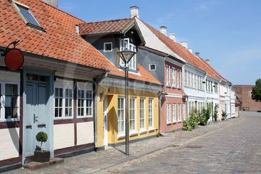 Colourful old town of Odense in Denmark