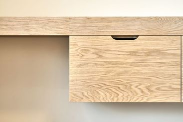 Modern furniture close-up. Wall mounted wooden dressing...