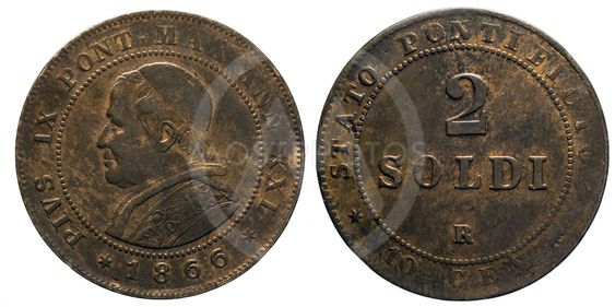 two 2 Soldi Copper Coin 1866 pope Pio IX papal state
