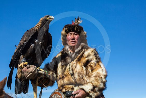 Kazakh Golden Eagle Hunter at traditional clothing, with...