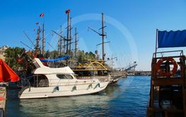Sail boats on the waves of the port of Antalya, Turkey