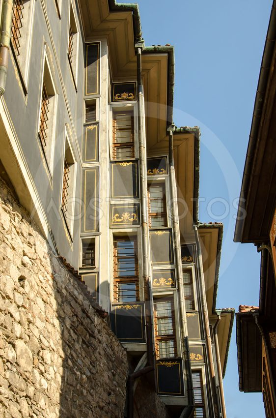 Houses built on the fortress wall in the old Plovdiv