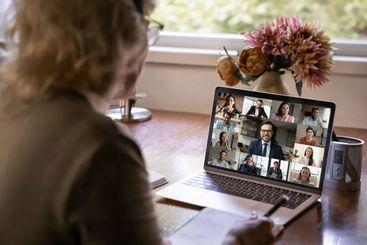 Female employee have webcam team meeting online