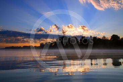 beautiful reflection sunrise on river