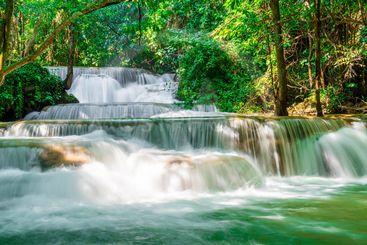 Huay Mae Kamin Waterfall at Kanchanaburi in Thailand