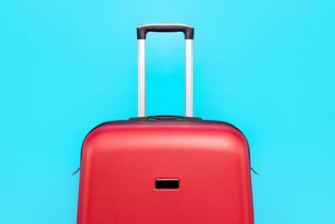 red suitcase close up