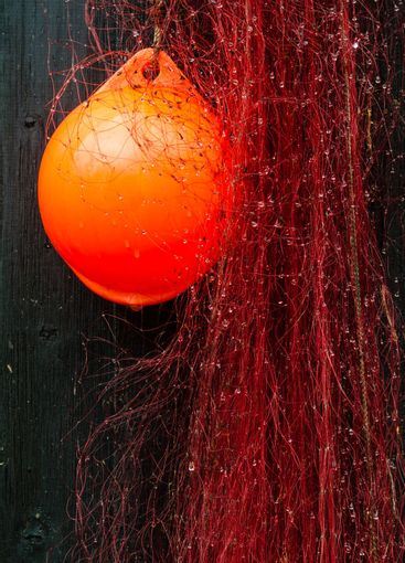 Red buoy and fishing net, close-up