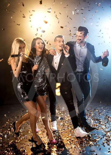 Happy friends celebrating