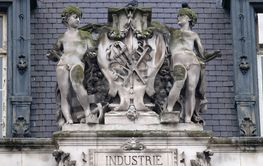Escutcheon representing the industry, on the back of the...