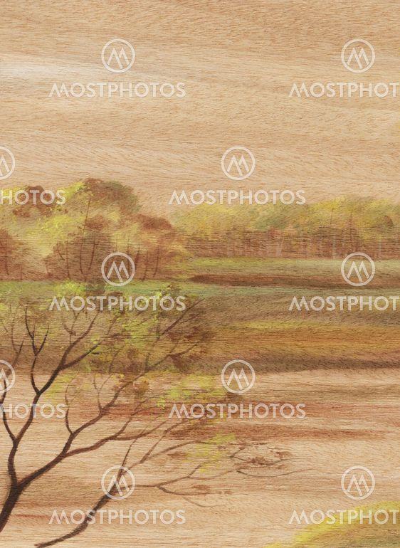 Liggande på trä fanér