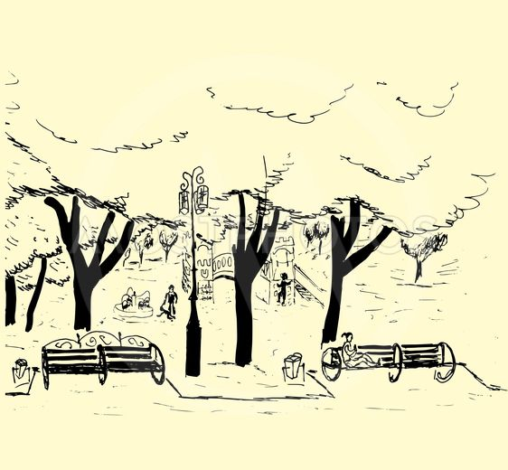 Hand drawn sketch of the city park with trees, benches, a...