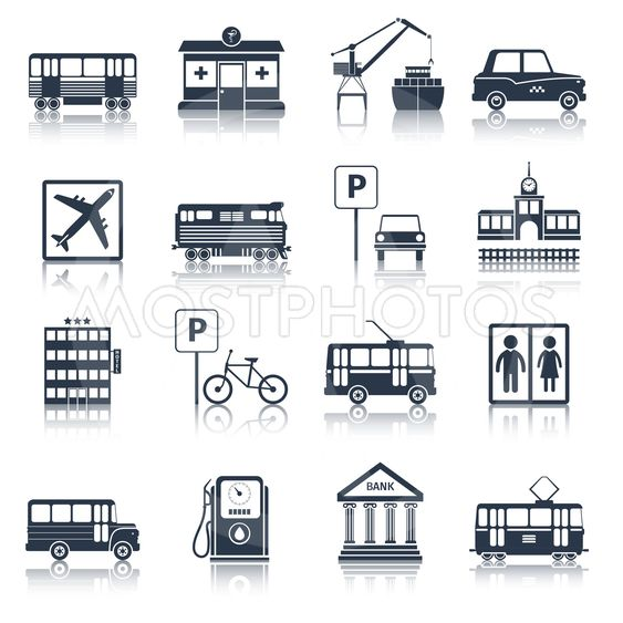 City infrastructure icons black