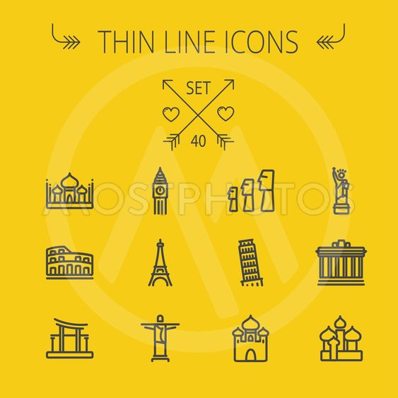 Travel thin line icon set