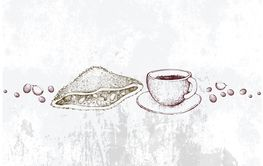Hand Drawn of Hot Coffee with Crispy Sandwich