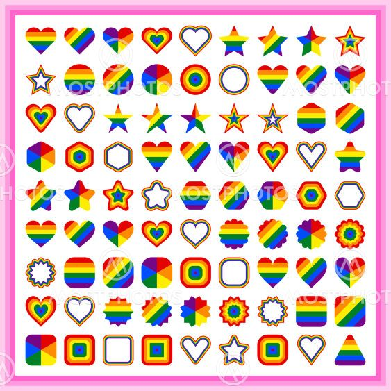LGBT flag shapes. Forms of circle, star, hexagon, heart,...