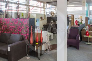 Furniture showroom with tables and chairs