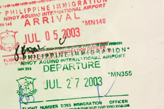 Arrival departure passport stamps