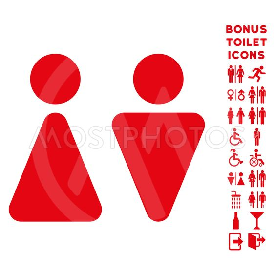 WC Persons Flat Vector Icon and Bonus