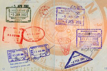 asian visas on compass background