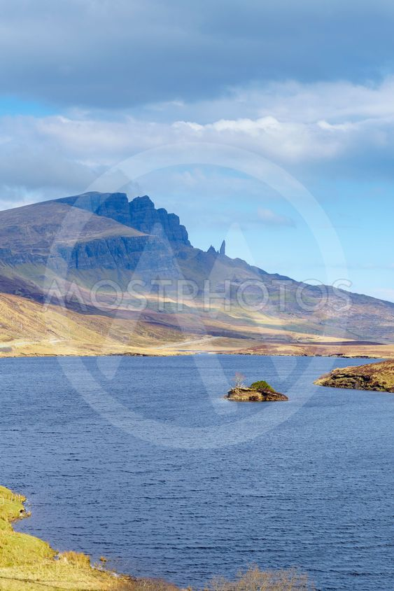 Old Man of Storr rock formation and lake, Scotland.