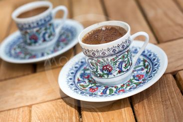 Traditional fresh turkish coffee on wooden table