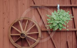 Wagon wheel decoration on a timber building